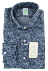 $375 Finamore Napoli Blue Floral Denim Shirt - Extra Slim - (T5) - Parent