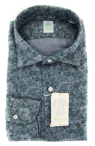 New $375 Finamore Napoli Green Shirt - Extra Slim - XL/XL - (27WAS980015X3)