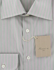 New $400 Finamore Napoli Green Striped Shirt - Slim - 15.75/40 - (LENSTRGRN)