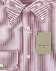 New $375 Finamore Napoli Pink Shirt Large