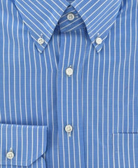 New $375 Finamore Napoli Blue Casual Shirt Medium