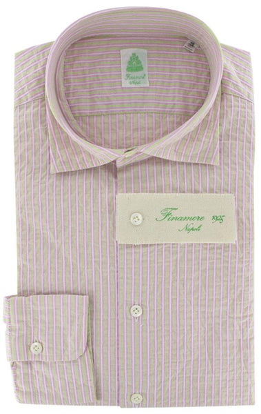 New $375 Finamore Napoli Pink Striped Plain Weave Shirt 16/41