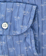 New $325 Finamore Napoli Blue Button-Front Shirt Small 15