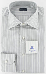 New $425 Finamore Napoli Gray Shirt 16/41