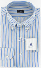 New $425 Finamore Napoli Blue Shirt 15.75/40
