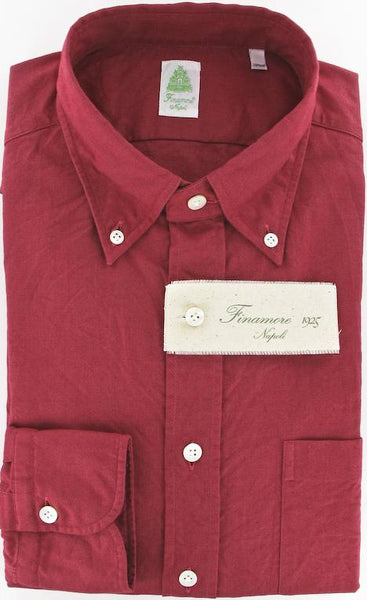 New $375 Finamore Napoli Red Shirt 15.75/40