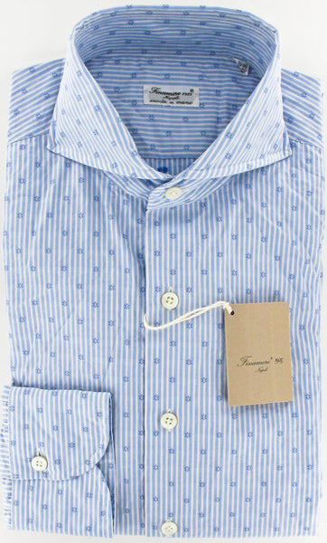 New $375 Finamore Napoli Button-Front Shirt Small