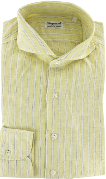 New $375 Finamore Napoli Button-Front Shirt Large