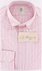 New $325 Finamore Napoli Pink Button-Front Shirt Medium