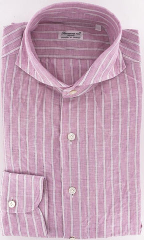 Finamore Napoli Pink Button-Front Shirt – Size: Large US