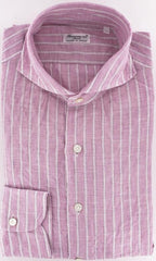 New $375 Finamore Napoli Pink Button-Front Shirt Large