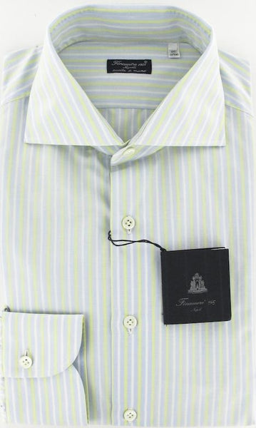 New $425 Finamore Napoli Light Blue Shirt 15.75/40