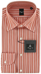 New $425 Finamore Napoli Orange Shirt - Extra Slim - 15.75/40 - (22NAN14014105)