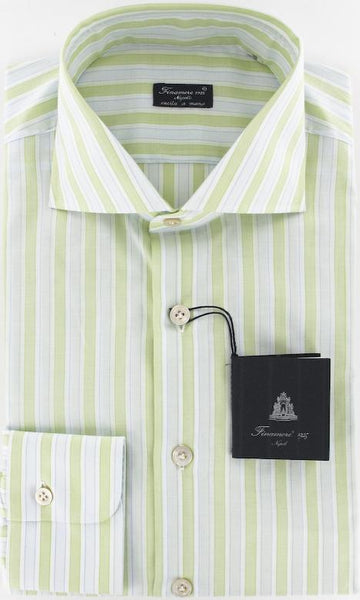 New $425 Finamore Napoli Green Shirt 16/41