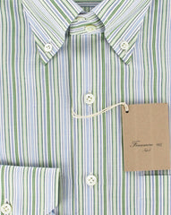 New $375 Finamore Napoli Button-Front Shirt Medium