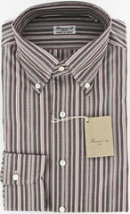 New $375 Finamore Napoli Brown Shirt 15.5/39