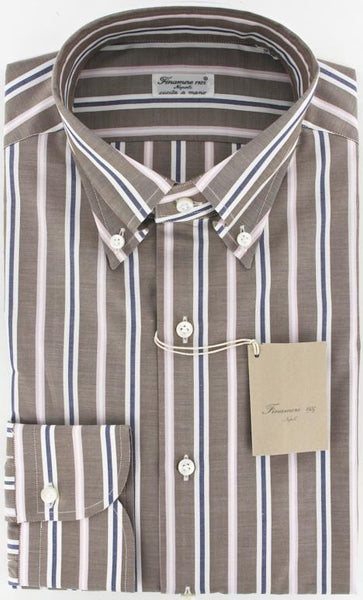 New $375 Finamore Napoli Brown Shirt 15.75/40