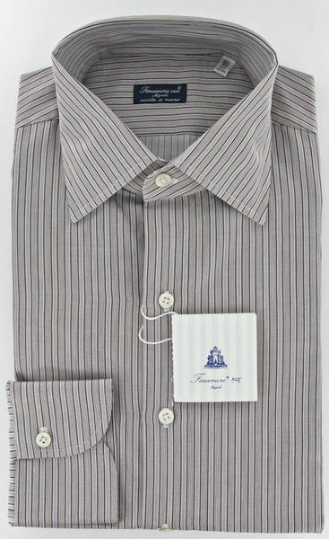 New $425 Finamore Napoli Brown Shirt 15.75/40