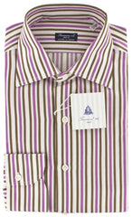 New $425 Finamore Napoli Purple and Brown Striped Shirt - Slim Fit - 15.75/40