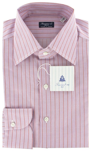 New $425 Finamore Napoli Pink White, Orange Striped Shirt - Slim Fit - 15.5/39
