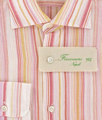 New $425 Finamore Napoli Orange White, Pink Striped Cotton Shirt 15.75/40