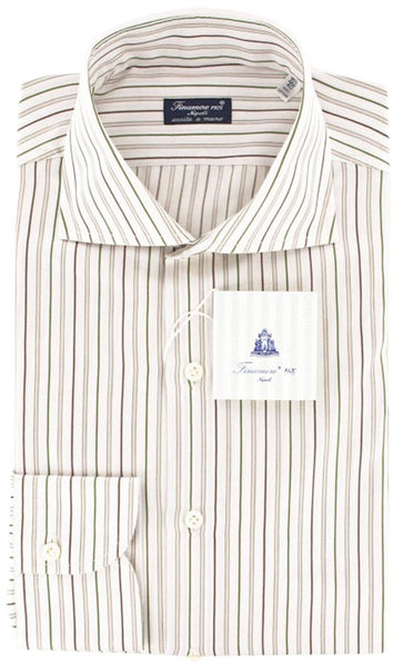 New $425 Finamore Napoli Green White, Pink, Brown Striped Shirt 15.75/40
