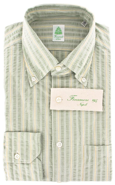 New $375 Finamore Napoli Green Striped Cotton Shirt -Extra Slim Fit - 16/41
