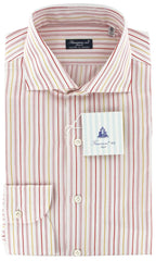 New $425 Finamore Napoli Red and Yellow Striped Shirt - Slim Fit - 15.75/40