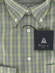 New $375 Finamore Napoli Green Check Cotton Shirt -Full Fit- S/S