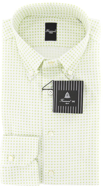 New $425 Finamore Napoli Green Fancy Plain Weave Shirt 15.75/40