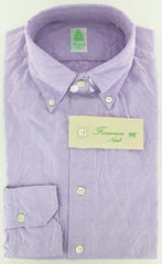 New $375 Finamore Napoli Lavender Purple Cotton Plain Weave Shirt 15.75/40