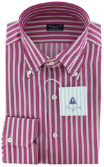 New $425 Finamore Napoli Pink and Green Striped Shirt - Slim Fit - 17.5/44