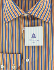 New $425 Finamore Napoli Yellow Shirt 15.5/39
