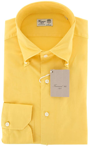 New $375 Finamore Napoli Yellow Button Down Shirt - Full Fit - M/M
