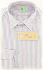 New $375 Finamore Napoli Lavender Purple Shirt - Extra Slim - S