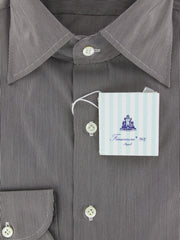 New $425 Finamore Napoli Brown Cotton Shirt - Slim Fit -16.5/42