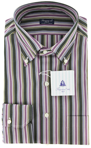New $425 Finamore Napoli Green White,Purple,Burgunday,Blue Striped Shirt15.75/40