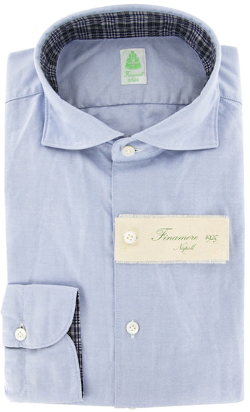 New $375 Finamore Napoli Light Blue Shirt XL/XL