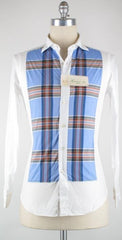 New $375 Finamore Napoli Light Blue Casual Shirt 15.75