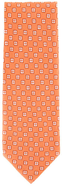 New $195 Finamore Napoli Light Orange, Orange, White Tie - 100% Linen - 3.5""