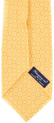 "New $195 Finamore Napoli Yellow with White Print Tie - 100% Linen - 3.5"" Wide"