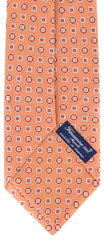 "New $195 Finamore Napoli Orange, White, Light Blue Tie - 100% Linen - 3.5"" Wide"