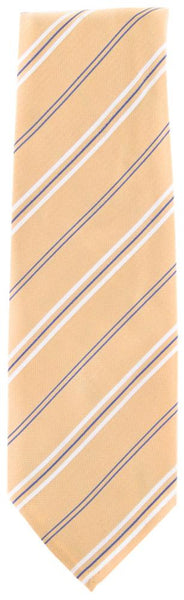 "New $195 Finamore Napoli Yellow, White, Light Blue Stripes Tie - 3.25"" Wide"