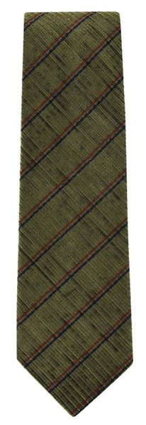 New $195 Finamore Napoli Brown, Red, Blue Stripes Tie - 90% Silk, 10% Cotton
