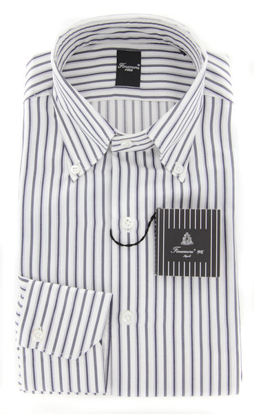 New $425 Finamore Napoli Gray Striped Cotton Twill Shirt  15.75/40