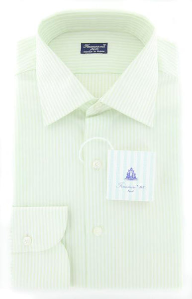New $425 Finamore Napoli Green Fancy Weave Shirt - Slim Fit - 16/41