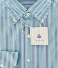 New $425 Finamore Napoli Light Blue White, Navy Blue Striped Shirt 16/41