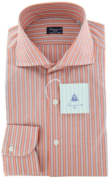 New $425 Finamore Napoli Orange Shirt 16/41