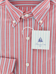 New $425 Finamore Napoli Red Striped Button Down Shirt - Slim Fit - 16/41