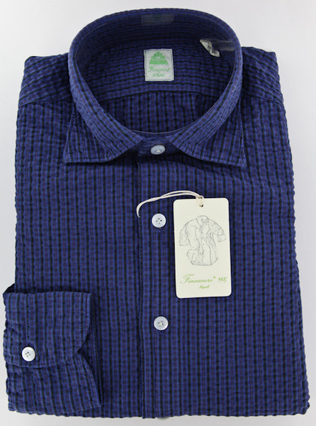 New $375 Finamore Napoli Blue Plaid Cotton Plain Weave Shirt S/S